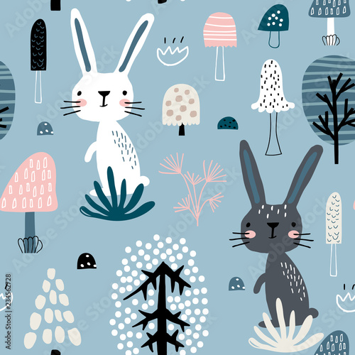 Cuadros en Lienzo Seamless childish pattern with rabbits in forest