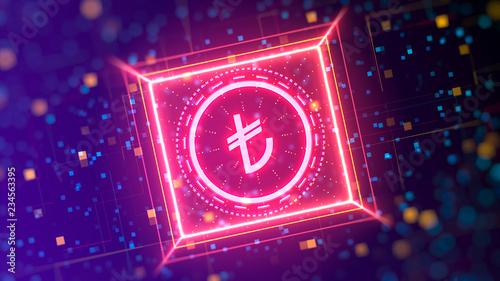 Fotografie, Obraz  Turkish Lira currency logo on a abstract digital background