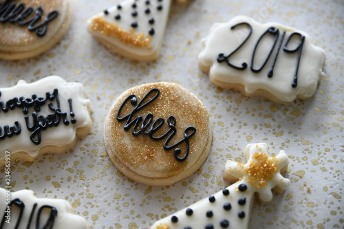 Staande foto Koekjes New Years themed cookies