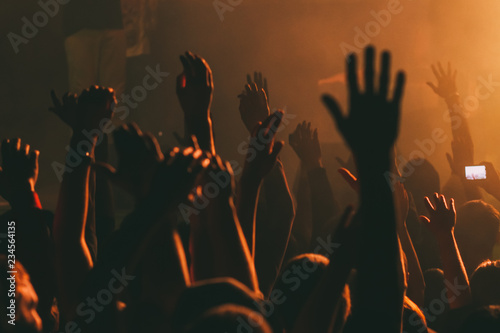 Hands silhouettes of the crowd raised up at music show. Wallpaper Mural