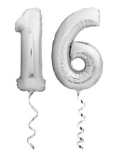 Silver Chrome Number 16 Sixteen Made Of Inflatable Balloon With Ribbon Isolated On White