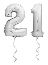 Silver Chrome Number 21 Twenty One Made Of Inflatable Balloon With Ribbon Isolated On White