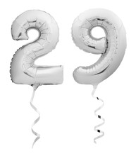 Silver Chrome Number 29 Twenty Nine Made Of Inflatable Balloon With Ribbon Isolated On White