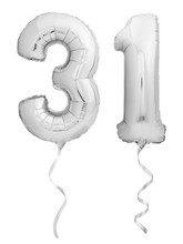 Silver Chrome Number 31 Thirty One Made Of Inflatable Balloon With Ribbon On White
