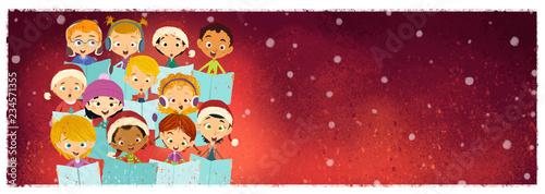Photographie niños cantando en coro en navidad