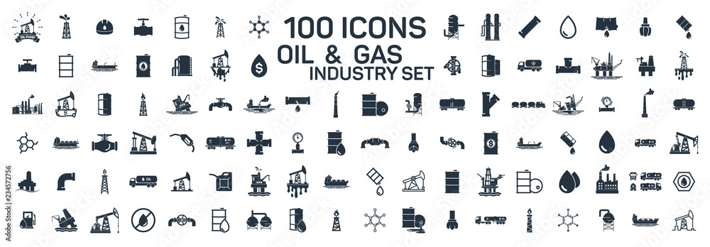 Obraz 200 oil and gas industry isolated icons on white background fototapeta, plakat