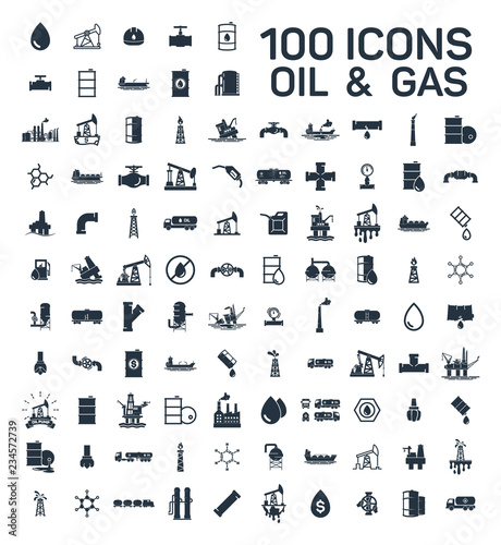 Fototapeta 200 oil and gas industry isolated icons on white background obraz