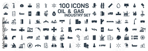 Fotografia  200 oil and gas industry isolated icons on white background