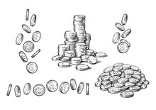 Set Of Coins In Different Positions In Sketch Style. Falling Dollars, Pile Of Cash, Stack Of Money. Hand Drawn Vector Collection Isolated On White Background.
