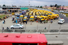 Wide Shot Of Obalende Bus Gara...