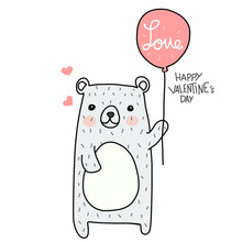 Cute White Bear With Love Balloon Happy Valentine's Day Cartoon Doodle Vector Illustration