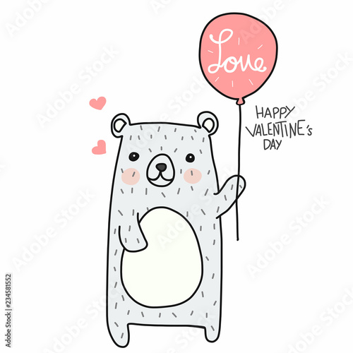 Fototapeta Cute white bear with love balloon Happy Valentine's day cartoon doodle vector il