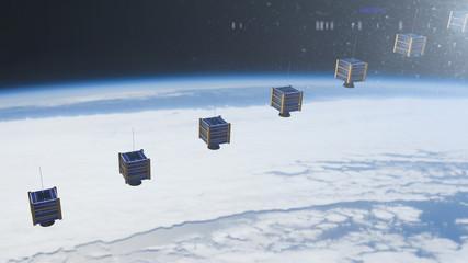 Nano satellite or nanosat communication global connected tecnology network