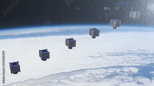 Photo Nano satellite or nanosat communication global connected tecnology network