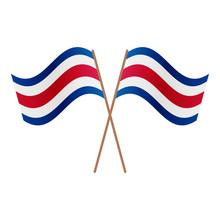Symmetrical Crossed Costa Rica Flags