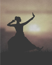 Indian Girl Dancing Under The Sunset