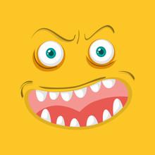 Monster Face On Orange Background