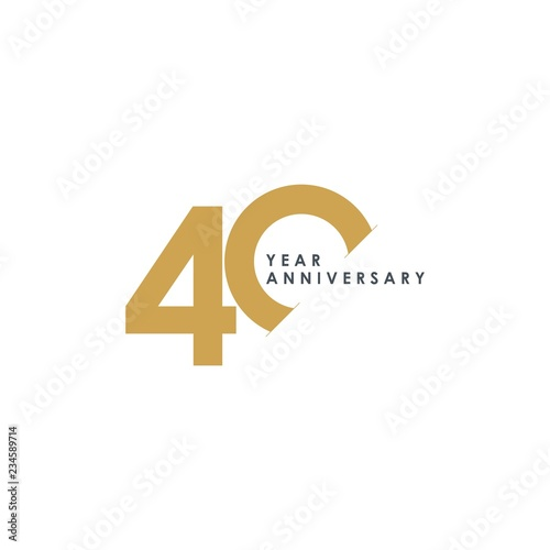 Tela 40 Year Anniversary Vector Template Design Illustration