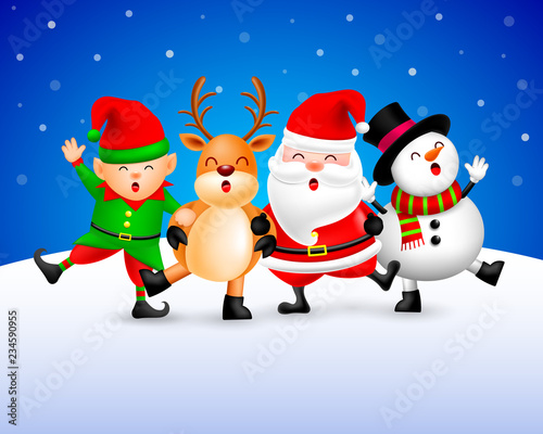 Funny Christmas Characters design on snow background, Santa