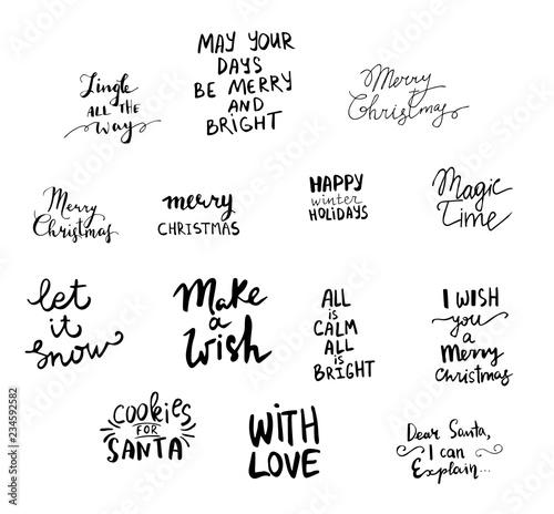 Autocollant pour porte Positive Typography Set of Christmas lettering handwritten
