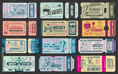 Ice hockey game vector tickets Wallpaper Mural