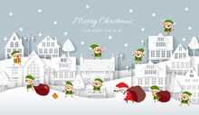 Christmas Town, White Paper Houses, Santa Claus, Elves, Vector Illustration