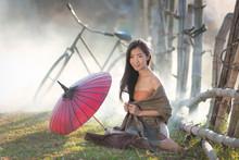 Asian Cute Girl Wearing Thai T...