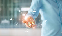 Medicine. Human Holding Drugs Tablets And Pills In Hand With Icon Medical Network Connection On Modern Virtual Screen Interface, Medicines, Pharmaceutics And Medical Technology Network Concept