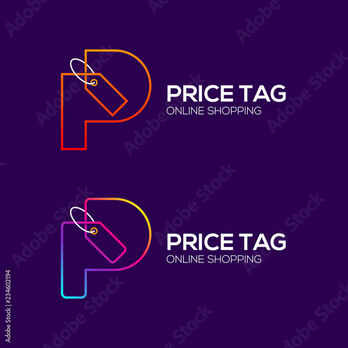 Letter P Logotype Colorful Line Sale Tag Price Tag Special Offer Tag Shopping