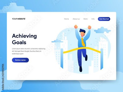Photo  Landing page template of Achieving Goals Concept