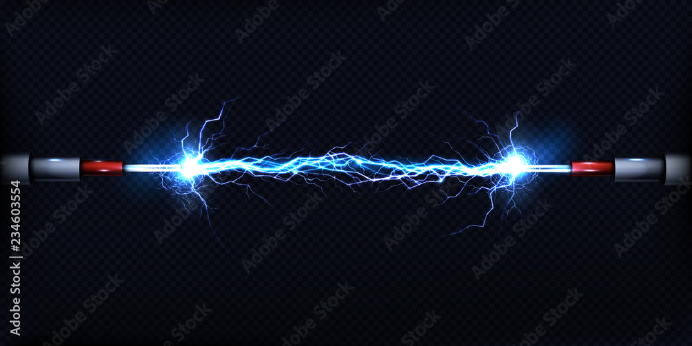 Fototapeta Electrical discharge passing through air between two pieces of naked wires or power cables 3d realistic vector illustration isolated on transparent background. Electrical power short circuit concept