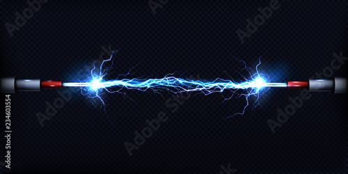 Obraz Electrical discharge passing through air between two pieces of naked wires or power cables 3d realistic vector illustration isolated on transparent background. Electrical power short circuit concept - fototapety do salonu