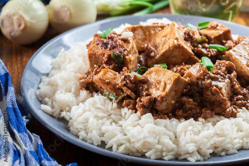 Fond de hotte en verre imprimé Plat cuisine Mapo Tofu - sichuan spicy dish served with rice