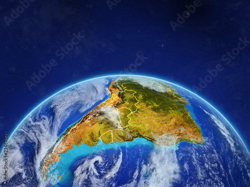 Fototapety, obrazy: South America on planet planet Earth with country borders. Extremely detailed planet surface and clouds.