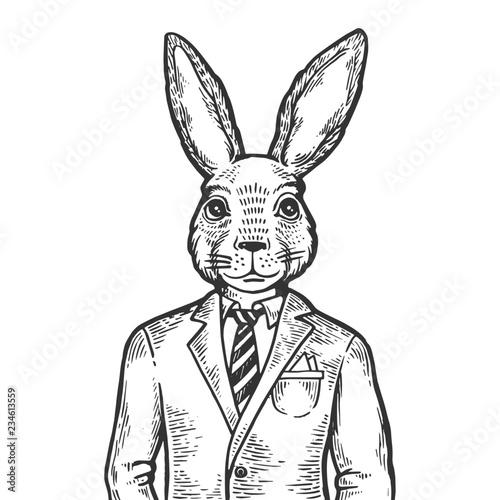 Rabbit hare businessman engraving vector illustration Fototapet
