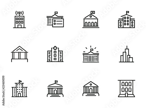 Government building line icon set. School, courthouse, hospital. Architecture concept. Can be used for topics like city, office, headquarter - 234614199