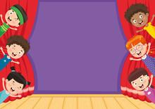 Vector Illustration Of Children At Theatre