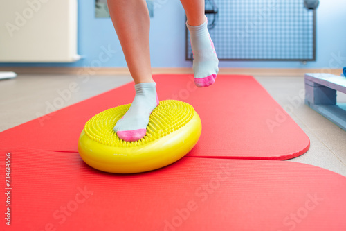 Exercises for ankle proprioception in a physiotherapy study Canvas Print