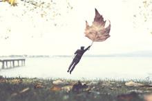 Man Flying With A Leaf