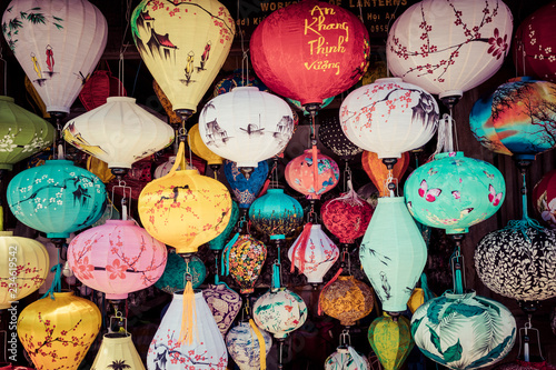 Foto op Canvas Asia land Colorful lanterns spread light on the old street of Hoi An Ancient Town - UNESCO World Heritage Site. Vietnam.
