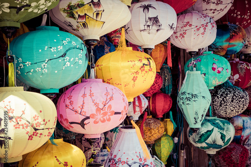 Deurstickers Asia land Colorful lanterns spread light on the old street of Hoi An Ancient Town - UNESCO World Heritage Site. Vietnam.