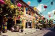 canvas print picture - Hoian Ancient town houses. Colourful buildings with festive silk lanterns. UNESCO heritage site. Vietnam.