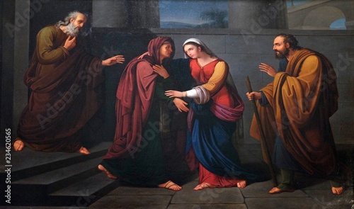 Fotografie, Obraz  Visitation of the Virgin Mary, altarpiece in the Basilica of Saint Frediano, Luc
