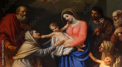 Fotografie, Obraz  Saint Anne adores the Child by Stefano Tofanelli, Basilica of Saint Frediano, Lu