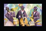 Zespół jazzowy na kolorowym tle - 234621972