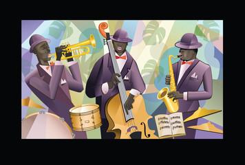 Fototapeta Muzyka / instrumenty Jazz band on a colorful background