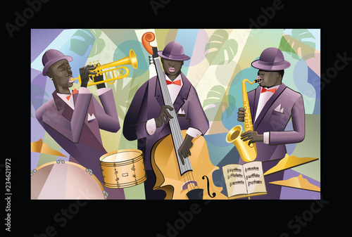 Spoed Foto op Canvas Art Studio Jazz band on a colorful background