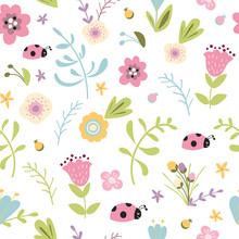 Summer Forest Floral Seamless Pattern Hand Drawn Spring Pastel Garden Background Meadow Flowers