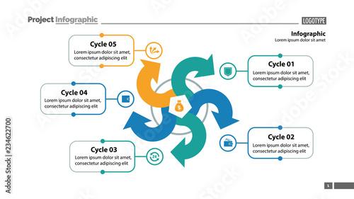 Five Arrows Process Chart Slide Template Business Data Point Diagram Design