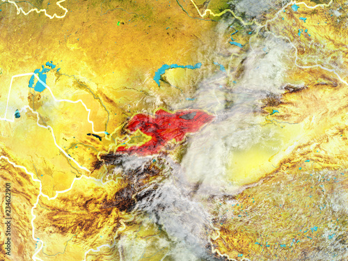 Fotobehang Vlinders in Grunge Kyrgyzstan from space on model of planet Earth with country borders. Extremely fine detail of planet surface and clouds.
